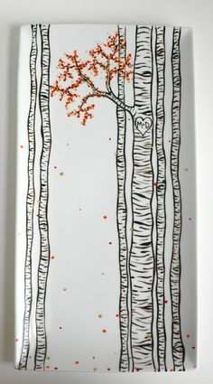 Personalized Birch Tree Platter. Pick your season for leaf colors and add your initials in the heart in the tree. Only from MaryElizabethArts.com