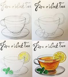 From pencil drawing to watercolor painting. A cup of tea for my Breakfast clip art. Watercolor Painting Techniques, Watercolour Tutorials, Watercolour Painting, Digital Painting Tutorials, Digital Art Tutorial, Art Tutorials, Watercolor Food, Watercolor Illustration, Tea Cup Drawing