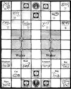 the playing mat (board) for a game of dou shou qi (known as 'the jungle game' or 'Chinese animal chess' Fun Board Games, Diy Games, Game Boards, Family Games, Games For Kids, Games To Play, Chinese Board Games, Medieval Games, Traditional Games