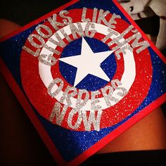 Captain America Inspired Graduation Cap