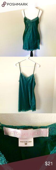 Spotted while shopping on Poshmark: Victoria's Secret hunter green satin slip! #poshmark #fashion #shopping #style #Victoria's Secret #Other