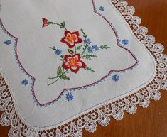 Linen Table Runner Hand Embroidered Vintage Red Blue Gold Orange Flowers x w Venice Lace Trim, Rustic Farmhouse Table, Fall Colors by VintageBabyByKay on Etsy Embroidery Motifs, Rose Embroidery, Vintage Embroidery, Embroidery Designs, Blue Gold, Red And Blue, Rustic Farmhouse Table, Handmade Christmas Decorations, Vintage Textiles