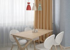 Student apartment on Behance Student Apartment, Dining Chairs, Dining Table, Curtains, Interior, Fox Art, Red Fox, Furniture, Behance