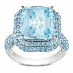 Sterling Silver 9 4/5 CT TGW Sky Blue Topaz and Swiss Blue Topaz Fashion Ring Amour. $216.99