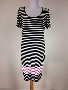 Calvin Klein Dress Size 4 Black Pink White Striped Shift Soft Rayon #CalvinKlein #Shift #Casual
