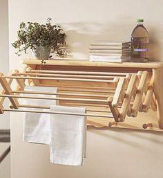 beadboard laundry drying racks | ... Drying Rack I Gaiam - wall shelf drying rack, wooden drying rack, wall