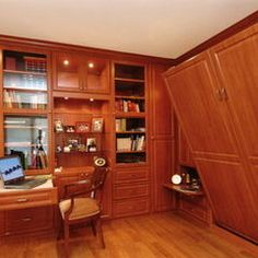 Home Office Photos Murphy Bed Design, Pictures, Remodel, Decor and Ideas - page 3 Murphy Bed Office, Murphy Beds, Hidden Wall Bed, Spare Bedroom Office, Hideaway Bed, Office Nook, Bed Wall, Home Office Design, Bed Design