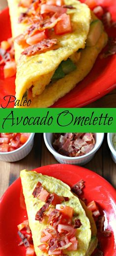 Paleo Avocado Omelette sprinkled with bacon and tomatoes is my favorite go to breakfast! | avocado omlette | avocado omelet | omelette | omelet | paleo omelette | paleo omelet | paleo breakfast | gluten free recipes | gluten free | paleo recipes | breakfast |