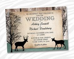 PRINTABLE Rustic Deer Wedding Invitations  by ArtisticallyInvited, $20.00