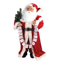 Kurt Adler 36-Inch Jacqueline Kent Santa with Merry Christmas Banner