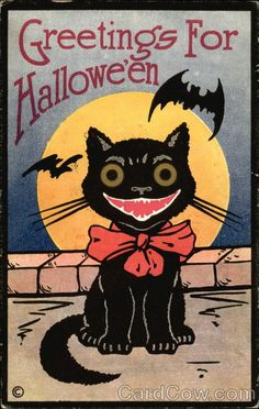 'Greetings for Halloween' grinning black cat, moon and bats