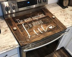 Lets eat yall stove cover / Farmhouse kitchen noodle board /The secret ingredient is always love noodle board / stove top cover / stove cover / farmhouse stove cover, farmhouse sign / stove board Kitchen Stove, Diy Kitchen, Kitchen Decor, Decorating Kitchen, Kitchen Counters, Kitchen Nook, Rustic Kitchen, Country Kitchen, Countertops