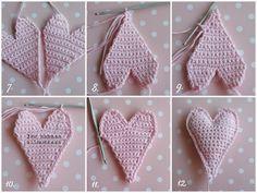 Life With Mari: Virkattu Sydän Sekä Ruse - maallure Diy Crochet And Knitting, Crochet Home, Irish Crochet, Crochet Stitches, Free Crochet, Crochet Baby, Crochet Patterns, Crochet Sachet, Crochet Hearts
