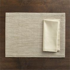 Grasscloth Neutral Placemat and Cotton Ecru Napkin in Placemats | Crate and Barrel