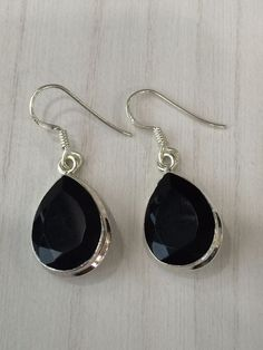 Colorz Of Earth: #Black #Onyx #Gemstone #Earrings in 925 #Sterling #Silver #ColorzOfEarth