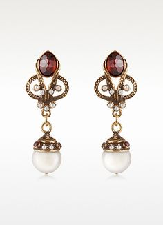 ALCOZER & J Gemstone and Pearl Drop Earrings $168 at Forzieri