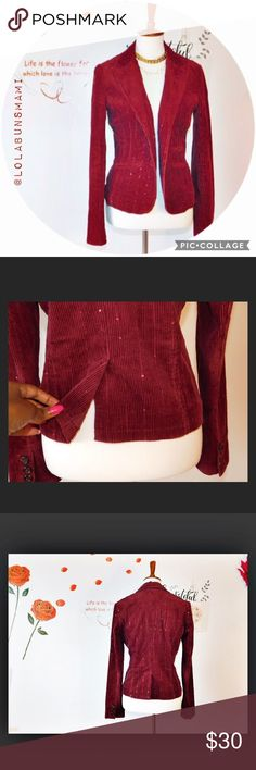 "American Eagle Burgundy Corduroy Blazer Perfect condition. Like New. Has sparkling details. Sleeves is 26"" inches Shoulder to Shoulder is 16"" inches armpit to armpit is 18  ""inches  and Length is 23 1/2"" American Eagle Outfitters Jackets & Coats Blazers"