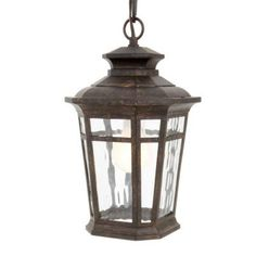 Hampton Bay Waterton Collection 1-Light Outdoor Dark Ridge Bronze Hanging Lantern-HD491874 - The Home Depot