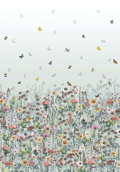 Deya Meadow Wallpaper in Eau De Nil and Multi from the Daydreams Collection by Matthew Williamson for Osborne & Little