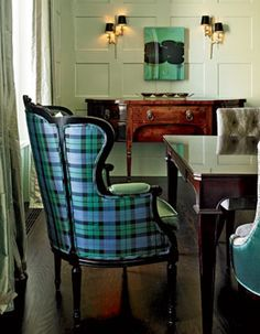 Tartan wingback chair- like the colors, like the walls.