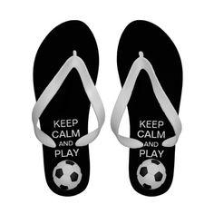 5c582ace0fc359 Keep Calm and Play Soccer Flip Flops  black  futbol  keepcalm  flipflops