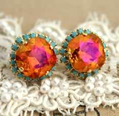 Orange pink swarovski Crystal stud turquoise big pink earring - 14k plated gold post earrings real swarovski rhinestones .