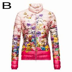 Moncler Women Alicia Lightweight Down Insulated Floral Jacket Pink Free Shipping
