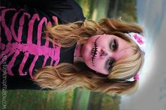 Awesome Halloween Costumes - CreativeMeInspiredYou.com  halloween, makeup, skeleton, pink skeleton, diy, costume, ideas, costume ideas, oct 31, girls, kids, tweens, face paint, spooky makeup, makeup