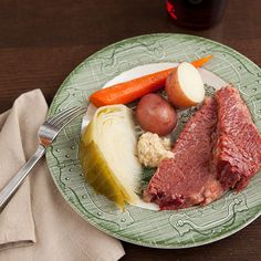 Slow Cooker Corned Beef with Cabbage, Carrots and Potatoes   Corned beef is one of the most popular dishes to eat on St. Patrick's Day and originated during the days when refrigeration didn't exist and foods were likely pickled or cured to preserve them.