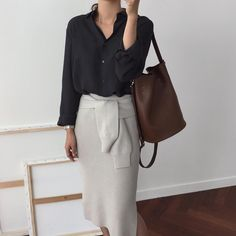 Classic black, white and brown outfit