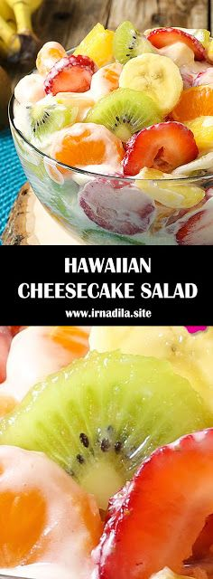 Hawaiian Cheesecake Salad comes together so simply with fresh tropical fruit and a rich and creamy cheesecake filling to create the most. Hawaiian Cheesecake Salad Recipe, Hawaiian Fruit Salad, Cheesecake Fruit Salad, Hawaiian Desserts, Best Fruit Salad, Fruit Salad Recipes, Hawaiian Recipes, Hawaiian Dishes, Fruit Salad With Cream