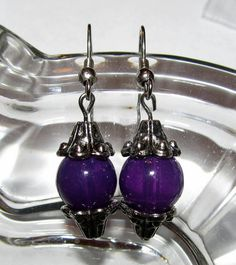 Earrings  Purple n' Silver Handmade Try As I May by CraftyChic90, $2.50