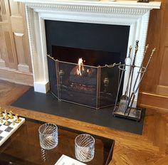 Gas log set wood mantle