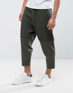 Asos Tapered Cropped Pants in Khaki Cut & Sew Asos Online Shopping, Online Shopping Clothes, Mens Hippie Shirts, Latest Fashion Clothes, Fashion Online, Cropped Trousers, Business Fashion, Menswear, Mens Fashion