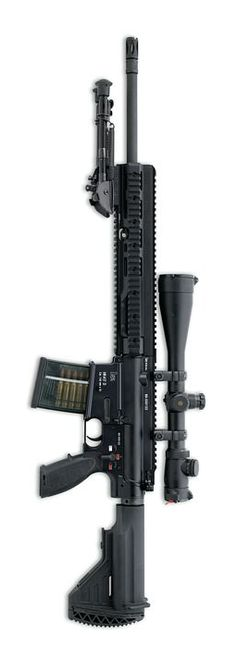 "HK417 rifle with 20"" / 50cm barrel, with telescopesight and detachable bipod."