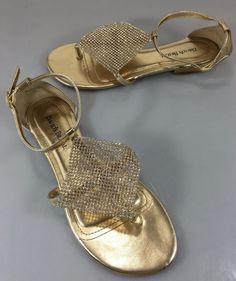 David's Bridal Womens 9 Ambra Gold & Crystal Flats Sandals Ankle Strap #DavidsBridal #AnkleStrap #BridalorWedding