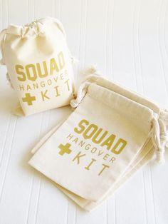 Squad Hangover Kit Bag, Bachelorette Paryt 21st Birthday survival kit,  Squad Goals, Hanover survival kit, favor bag, Bride Squad gift for by LuckyGirlHairTies on Etsy