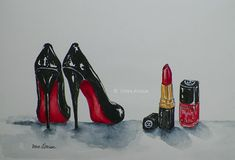 27 photo of 32 for chanel lipstick drawing Louboutin High Heels, Christian Louboutin, Afrique Art, Chanel Lipstick, Beauty Kit, Beauty Room, Red Aesthetic, Shoe Art, Magazine Art