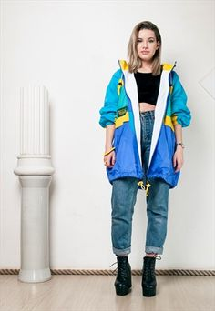 90S VINTAGE OVERSIZED UNISEX WINDBREAKER JACKET