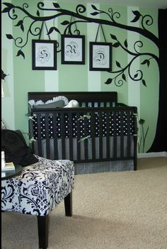 Goregeous nursery...do purple and white stripes for a girl and yellow and white for a boy!