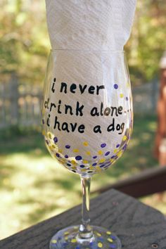 Handpainted Funny Wine Glass, Birthday Gift, Hand Painted, Unique Wine Glass, Dog Lover by MyCreativeTable on Etsy