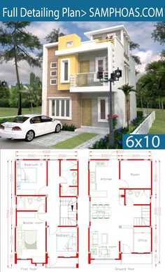Sketchup Home Design Plan with 4 Rooms - SamPhoas Plan - House Architecture 2 Storey House Design, Duplex House Design, Duplex House Plans, House Front Design, Small House Design, Dream House Plans, Modern House Plans, Modern House Design, House Floor Plans