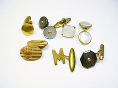Antique Art Deco Cufflinks  7 single Mens by unclesteampunk, $19.95