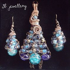#tree #set of #pendant and #earrings in #turquoise and #violet #colours with #bronze #wire #3bjewellery #wirewrapping #gettingbetter