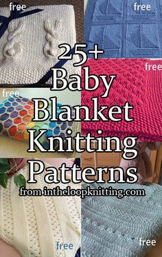 Knitting patterns for Baby Blankets. Most of the patterns are free.