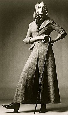 Harris Tweed maxi coat in soft pink by Ossie Clark 1968, Photograph by David Montgomery for Vogue