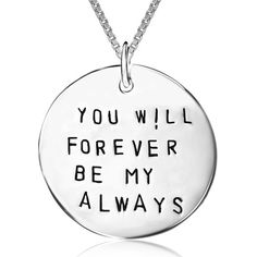 """2015 genuine 925 sterling silver pendant necklace """"you will forever be my always"""" necklace for women fine jewelry# Gold And Silver Bracelets, Silver Chain Necklace, Sterling Silver Bracelets, Pendant Necklace, Engraved Necklace, Dog Tag Necklace, Sterling Silver Cross Pendant, Box Chain, Love Words"""