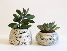 SALE - Polka dot cache pot - ceramic pot with face  - one of a kind