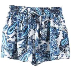 Iconic Printed  Elastic Waist Shorts ($15) ❤ liked on Polyvore featuring shorts, bottoms, & - clothing - shorts, oasap, blue, loose fit shorts, stretch waist shorts, print shorts, blue shorts and elastic waistband shorts