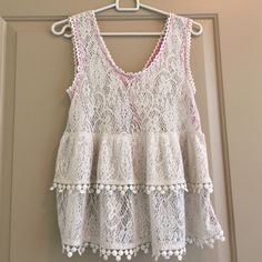 Free People Crochet Tank Gorgeous layered crochet tank top by Free People. Keyhole detail in the back. 70% polyester, 30% cotton   Size XS. Loose fit so will fit a size Small Free People Tops Tank Tops